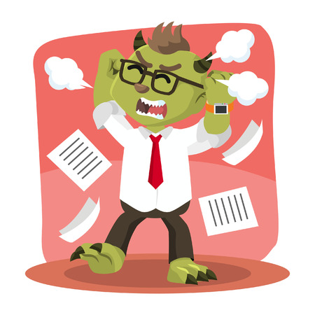 because: monster office angry because stress Illustration