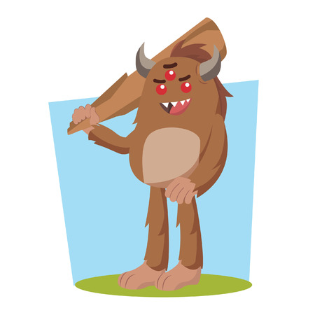 bigfoot holding big club vector illustration design