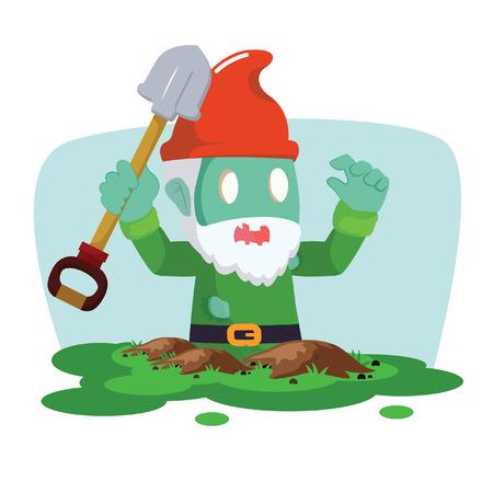 gnomos: gnomos zombi outfrom ilustración vectorial diseño de planta Vectores