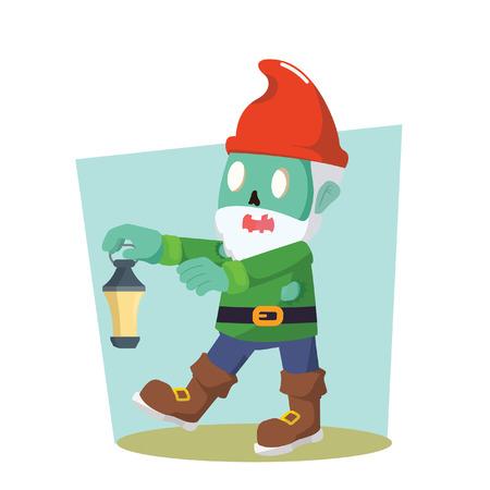 gnomos: gnomes zombie holding lamp vector illustration design