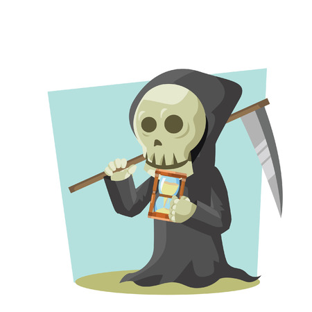 grim reaper holding hourglass and reaper