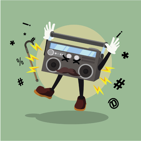 panicked: radio with broken speaker vector illustration design