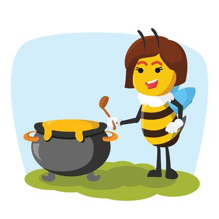 abeja reina: queen bee with holding pot of honey