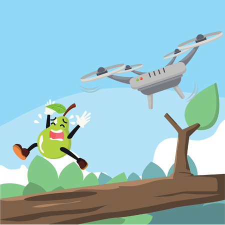 chased: pear man get chased by drone
