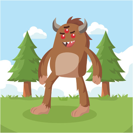 bigfoot walking on forest vector illustration design Illustration