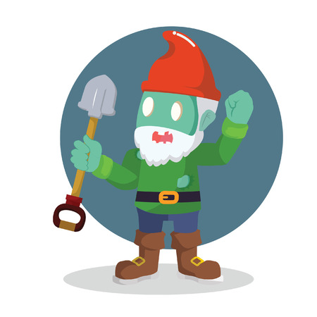 zombie gnomes holding shovel vector illustration design