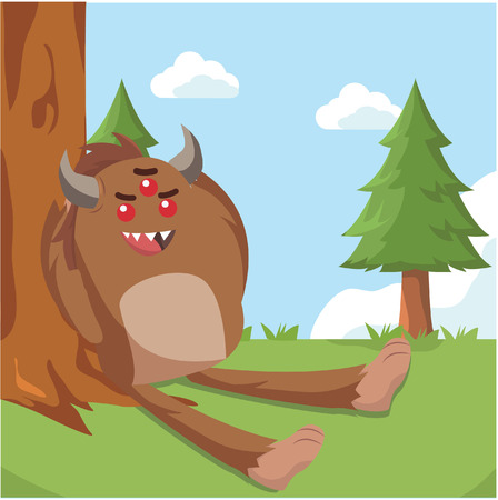 bigfoot relaxing on tree vector illustration design Illustration