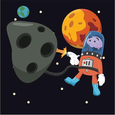 asteroid: brain alien mining asteroid Illustration