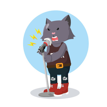 rock star cat singing