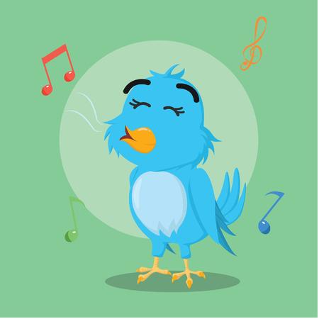 talons: blue bird singing vector illustration design