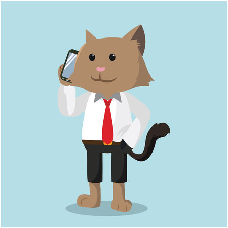 cat call: cat office calling with phone
