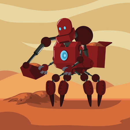 picking up: carrier robot picking up sand sample from mars Illustration