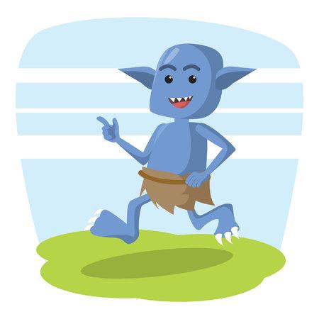 blue monster running vector illustration design Illustration