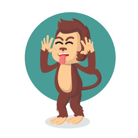 mocking: monkey mocking vector illustration design