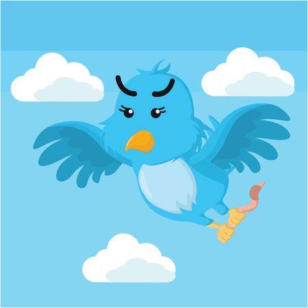 talons: blue bird holding worm