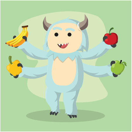 four arms monster holding fruits