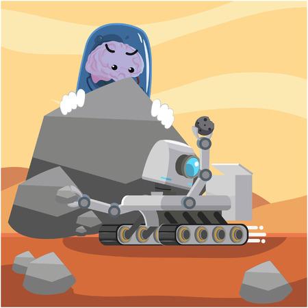 brain alien spying on robot Illustration