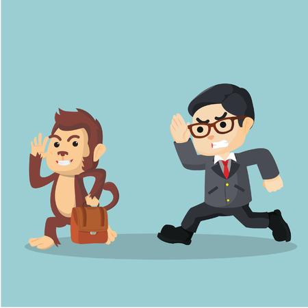 monkey stealing bag from businessman Illustration