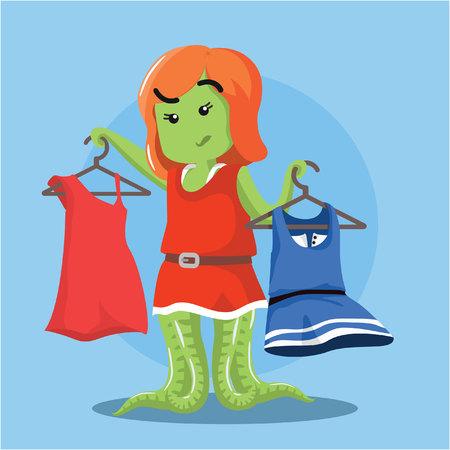 choosing: female monster choosing outfit