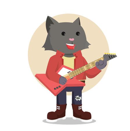 rock guitarist: rock star cat guitarist Illustration
