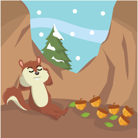 hibernate: squirrel hibernate vector illustration design