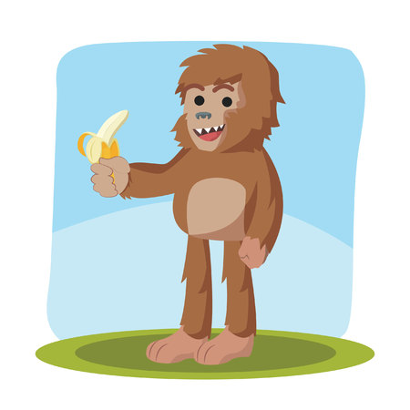 legendary: bigfoot holding banana vector illustration design
