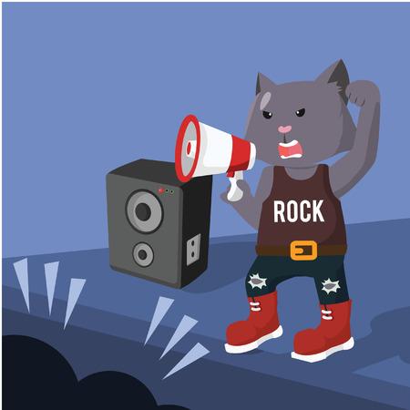 rock star cat concert Illustration