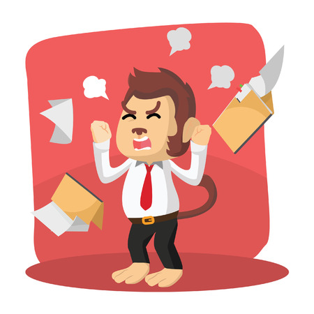 brown shirt: monkey office angry with folder flying