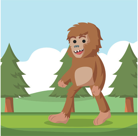 bigfoot walking on forest Illustration