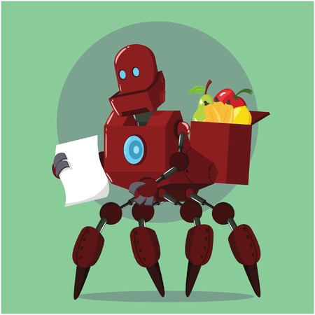four eyes: carrier robot buying fruits Illustration