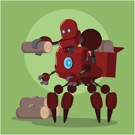 carrier robot carrying lumber Illustration