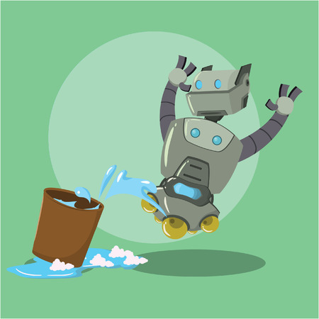 swab: cleaning robot aghasted vector illustration design