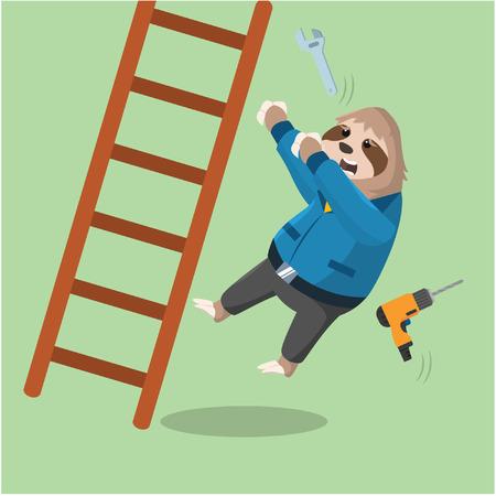 sloth handy loses balance and falls backward from ladder Illustration