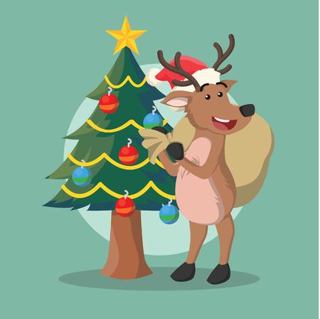 delivering: deer delivering christmast present Illustration