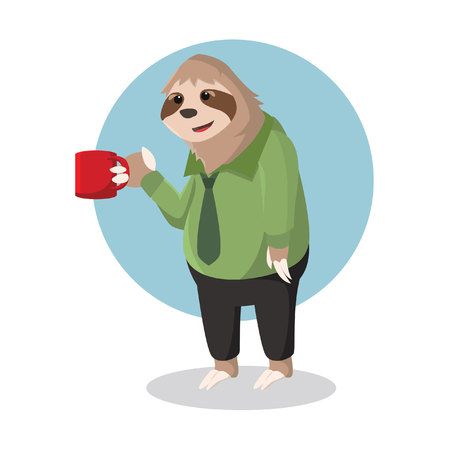 sloth office holding glass