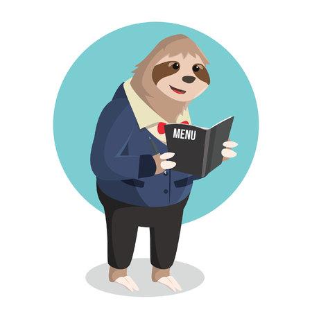 oso perezoso: camarero pereza acepta el pedido Vectores