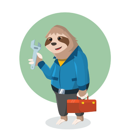 sloth handyman holding tool box Illustration