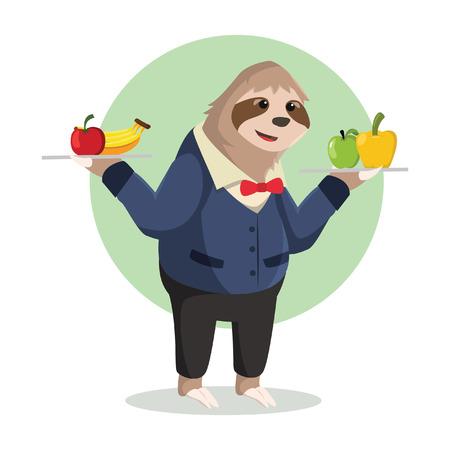 oso perezoso: pereza camarero sosteniendo la entrega de fruta Vectores
