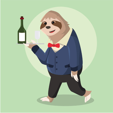 sloth: sloth waiter delivery wine