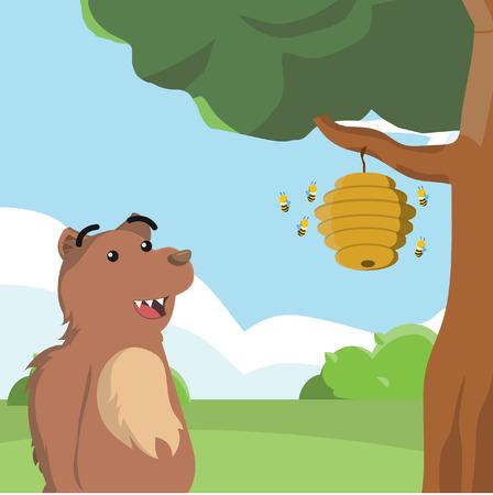 fur trees: bear looking at bee nest Illustration