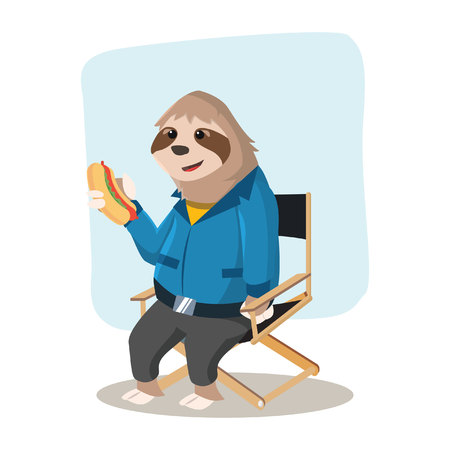 sloth handy break with holding hot dog