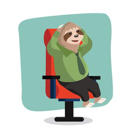sloth: oficina de la pereza vlazy ilustración vectorial de diseño