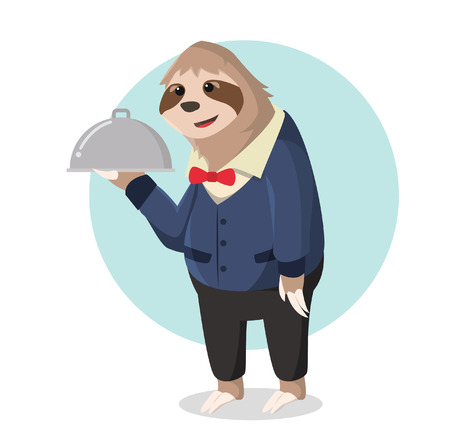 sloth: sloth waiter holding food delivery