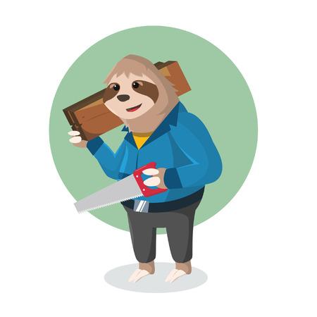 oso perezoso: pereza mano que sostiene de madera y una sierra para metales