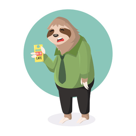 sloth office sleepy with absent late Illustration