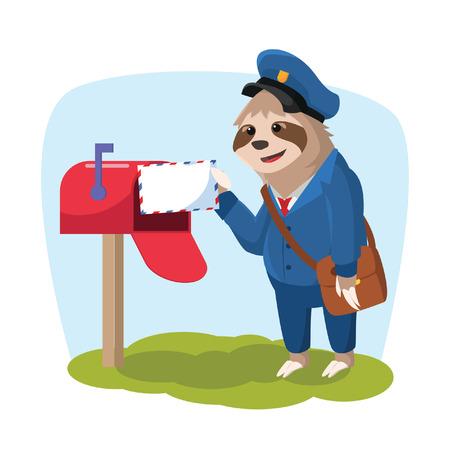 oso perezoso: la pereza que entrega el correo ilustración vectorial de diseño