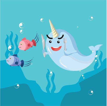 narwhal hunting fish vector illustration design