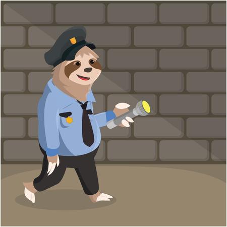 oso perezoso: pereza patrulla de la ilustración vectorial de diseño