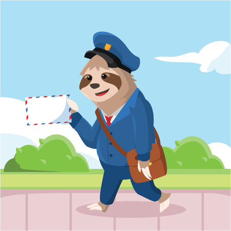 sloth walking with hold mail