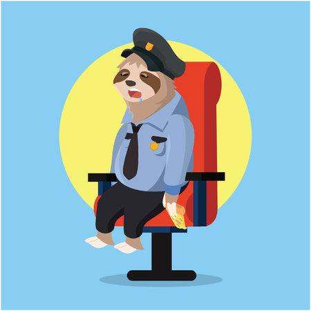sloth: perezoso durmiendo cuando la policía guarda